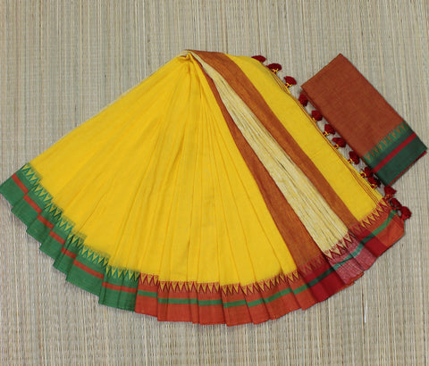 KGJMY01-handloom mango yellow khadi cotton ganga jamuna border saree with running blouse