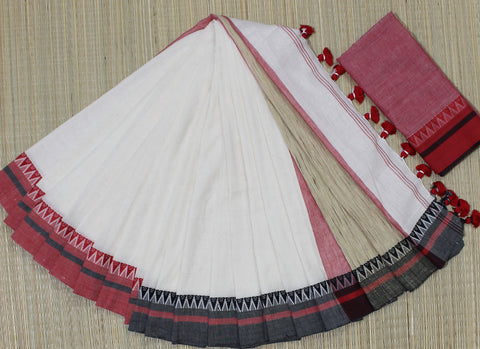 KGJOW01-handloom off white khadi cotton ganga jamuna border saree with running blouse