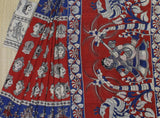 LPKSS01- faces printed red and blue kalamkari silk saree with blouse