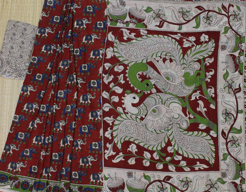 LPKSS05-red colour elephant printed red colour kalamkari silk saree with blouse