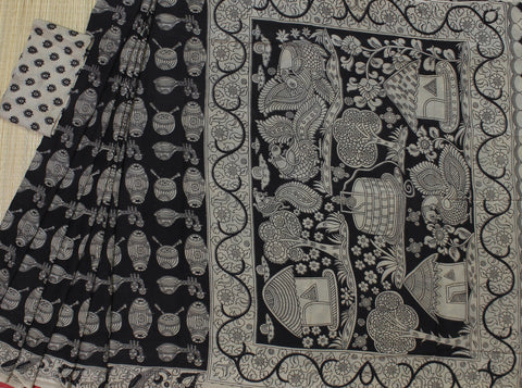 LPKSS06- musical intruments printed black colour kalamkari silk saree with blouse