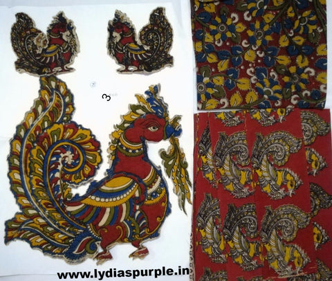 KPS03-Kalamkari patch for saree - LydiasPurple