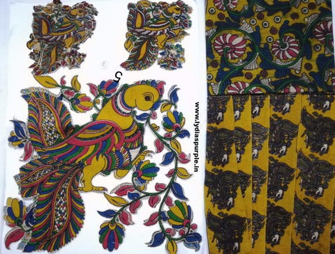 KPS05-Kalamkari patch for saree - LydiasPurple