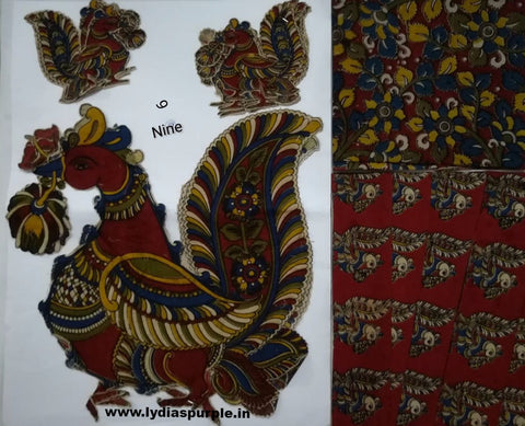 KPS09-Kalamkari patch for saree - LydiasPurple