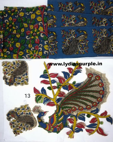 KPS13-Kalamkari patch for saree - LydiasPurple