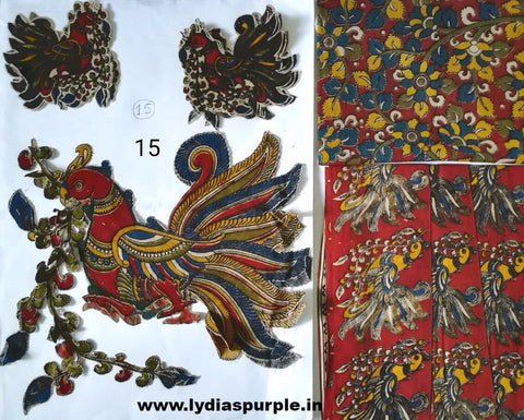 KPS15-Kalamkari patch for saree - LydiasPurple