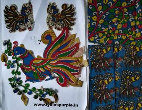 KPS17-Kalamkari patch for saree - LydiasPurple
