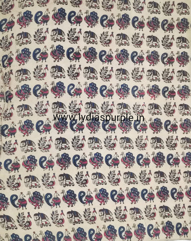 KFAB05-Multi colour Kalamkari fabric - LydiasPurple