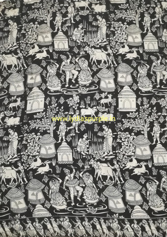 KFAB18-Multi colour Kalamkari fabric - LydiasPurple