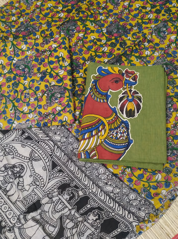KADM02-kalamkari appliue on handloom mangalagiri top with kalamkari bottom and kalamkari dupatta