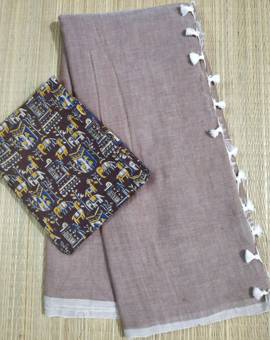 KPCBIB02-handloom chocolate brown khadi cotton saree with running blouse and ikkat blouse