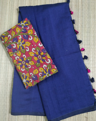 PKNB01-handloom navy blue khadi cotton saree with running blouse and kalamkari blouse
