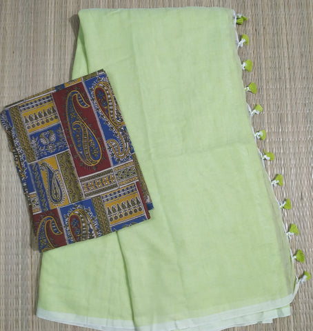PKKFG01-handloom flourescent green colour khadi cotton saree with running blouse and kalamkari blouse