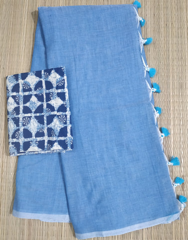 KPWBIB01-handloom water blue khadi cotton saree with running blouse and indigo blouse