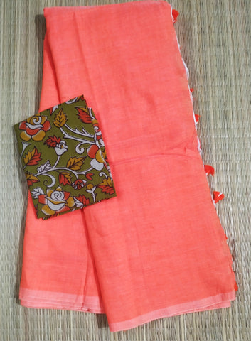 KPSKB-handloom saffron colour khadi cotton saree with running blouse andkalamkari blouse
