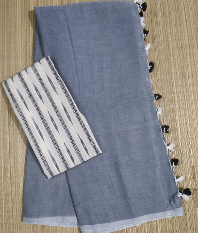 PKKG01-handloom grey colour khadi cotton saree with running blouse and ikkat blouse