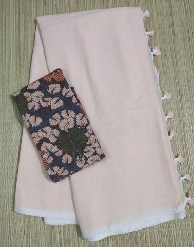 KBBSKB01-handloom biscuit colour khadi cotton saree with running blouse andkalamkari blouse