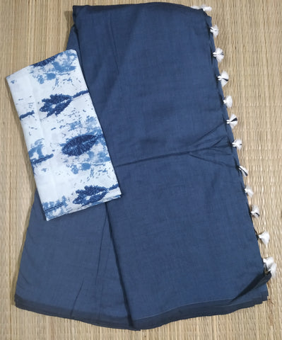 KCSGB-handloom plain  greyish blue khadi cotton saree with running blouse and indigo blouse