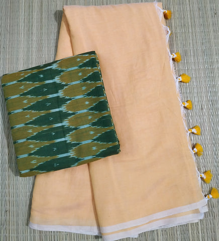 KPMMBKP01-handloom musk melon khadi cotton saree with running blouse and kalamkari blouse