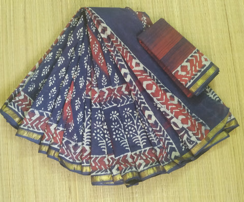DBMCS05-Designer bagru printed indigo malmal cotton saree with blouse