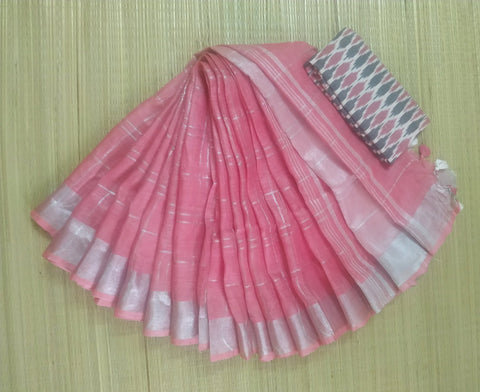 ZCP01-checks silver zari linen pink saree with additional ikkat blouse