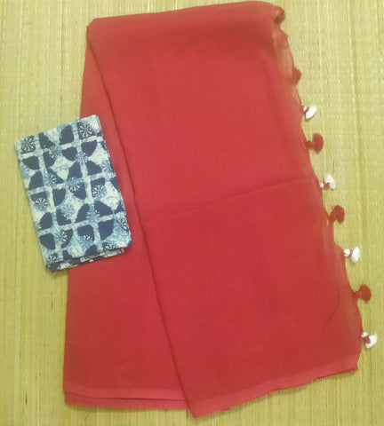 KCSR-handloom red khadi cotton saree with running blouse and indigo blouse