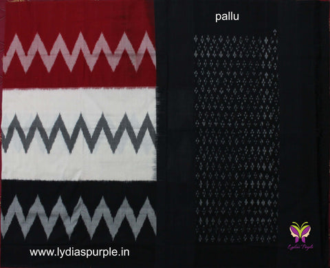 PCBWRZ01-POCHAMPALLY IKKAT Pure BLACK ,WHITE AND RED ZIG ZAG PATTERN Cotton Saree - LydiasPurple