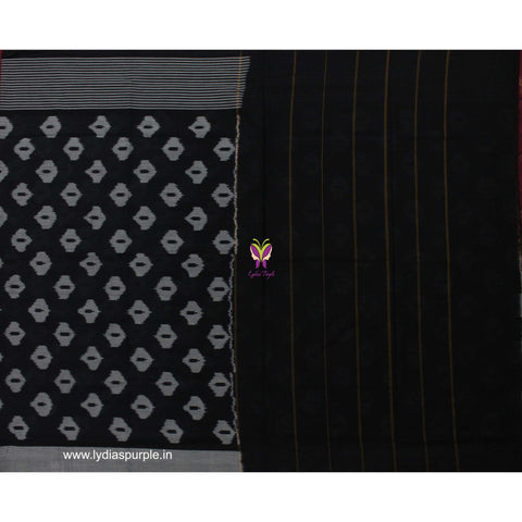 PCBGR01-POCHAMPALLY IKKAT Pure BLACK AND GREY MOTIF PATTERN Cotton Saree - LydiasPurple