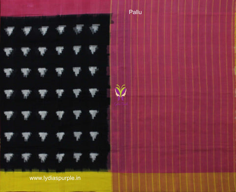 PCSBGP01-POCHAMPALLY IKKAT Pure Black & Pink-Yellow Retro Pattern Cotton Saree - LydiasPurple