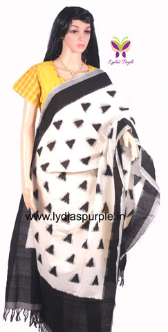 PCDIBWDM-01 POCHAMPALLY DOUBLE IKKAT HAND WOVEN  BLACK AND WHITE DIAMOND MOTIF DUPATTA - LydiasPurple