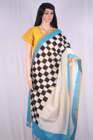 PCDIBBWC-01 Pochampally double ikat dupatta sky blue, black and white checks hand woven