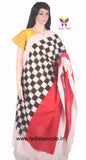 PCDIRBWC-01 POCHAMPALLY DOUBLE IKKAT HAND WOVEN RED,BLACK AND WHITE CHECKS DUPATTA - LydiasPurple