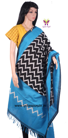 PCDISBBWZ-01 POCHAMPALLY DOUBLE IKKAT HAND WOVEN BLACK AND BLUE DUPATTA WITH WHITE ZIG ZAG LINES - LydiasPurple