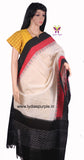 PCDIBWRT-01 POCHAMPALLY DOUBLE IKKAT HAND WOVEN  BLACK WHITE & RED DIAMOND TEMPLE DUPATTA - LydiasPurple
