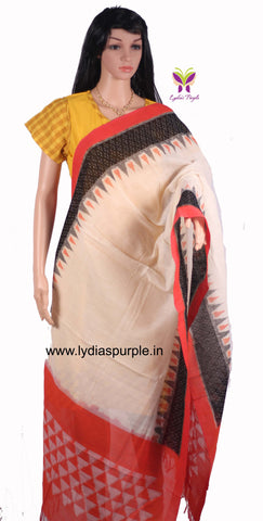 PCDIBWPT-01 POCHAMPALLY DOUBLE IKKAT HAND WOVEN  BLACK WHITE & PEACH DIAMOND TEMPLE DUPATTA - LydiasPurple