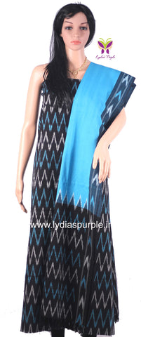 PCBSB01-UNSTITCHED BLACK AND SKY BLUE POCHAMPALLY IKKAT COTTON MATERIAL-3 PC SET - LydiasPurple