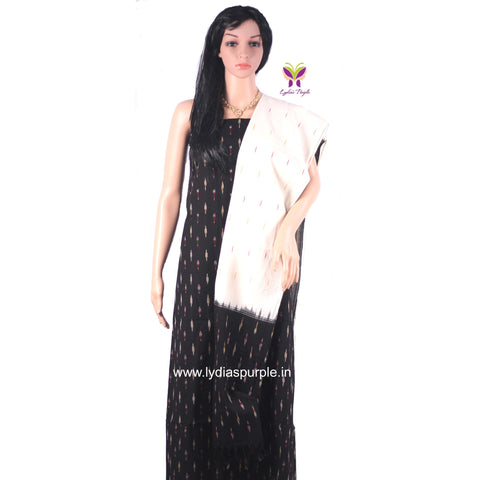 PCBO01-UNSTITCHED BLACK AND OFF WHITE POCHAMPALLY IKKAT COTTON MATERIAL-3 PC SET - LydiasPurple