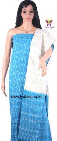 PCSBOW01-UNSTITCHED SKY BLUE  & OFF WHITE POCHAMPALLY IKKAT COTTON MATERIAL-3 PC SET - LydiasPurple