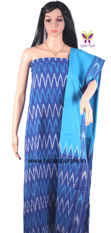 PCBSB01-UNSTITCHED  BLUE  AND SKY BLUE  POCHAMPALLY IKKAT COTTON MATERIAL-3 PC SET - LydiasPurple