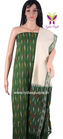 PCGOW01- UNSTICHED  GREEN AND OFFWHITE POCHAMPALLY IKKAT COTTON MATERIAL-3 PC SET - LydiasPurple