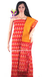 PCMR01- UNSTICHED MUSTARD YELLOW AND RED POCHAMPALLY IKKAT COTTON MATERIAL-3 PC SET - LydiasPurple
