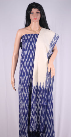 PCBOW01-UNSTITCHED BLUE & OFF WHITE POCHAMPALLY IKKAT COTTON MATERIAL-3 PC SET
