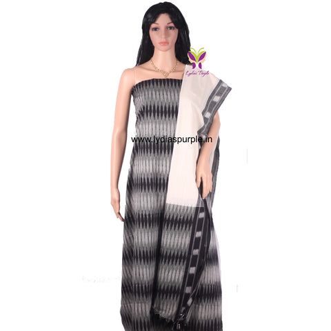 PCBGO01- UNSTICHED  BLACK GREY AND OFFWHITE POCHAMPALLY IKKAT COTTON MATERIAL-3 PC SET - LydiasPurple