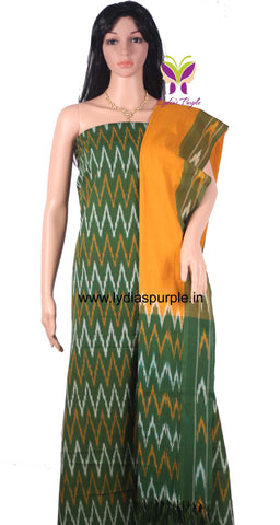 PCMYG01-UNSTITCHED  MUSTARD YELLOW AND GREEN POCHAMPALLY IKKAT COTTON MATERIAL-3 PC SET - LydiasPurple