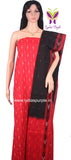 PCBR01-UNSTITCHED RED & BLACK POCHAMPALLY IKKAT COTTON MATERIAL-3 PC SET - LydiasPurple
