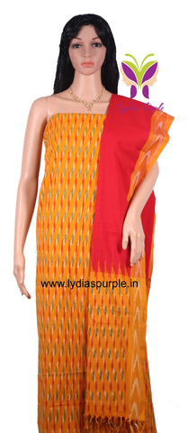 PCMYR01-UNSTITCHED  MUSTARD YELLOW AND RED POCHAMPALLY IKKAT COTTON MATERIAL-3 PC SET - LydiasPurple