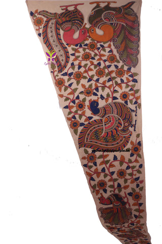 KSP02-Kalamkari patch for saree - LydiasPurple