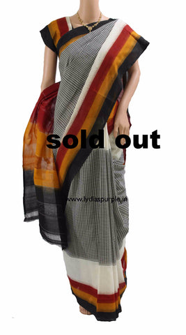 PCMYBC01-POCHAMPALLY IKKAT  BLACK ,MAROON AND YELLOW WITH SMALL CHECKS  COTTON SAREE - LydiasPurple