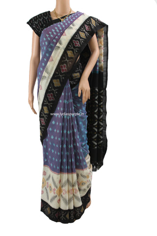 PCLB01-POCHAMPALLY IKKAT LAVENDER AND BLACK COTTON SAREE - LydiasPurple