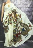 kalamkari silk applique work saree - lydiaspurple